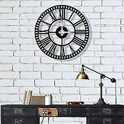 DEKADRON Unique Design Metal Wall Clock Roman Numerals Roman Numbers - Metal Wall Art Works - Metal Wall Decor Home Office Decoration Modern Industrial Silent Movement (20 W x 20 H/51x51cm)