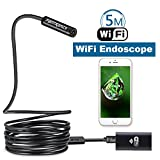 Fantronics 5 Meter(16.4ft) Rigid Cable Wireless Endoscope Borescope WIFI Inspection Camera 2.0 Megapixels HD Snake Camera for Android and IOS Smartphone, iPhone, Samsung, Tablet, Macbook