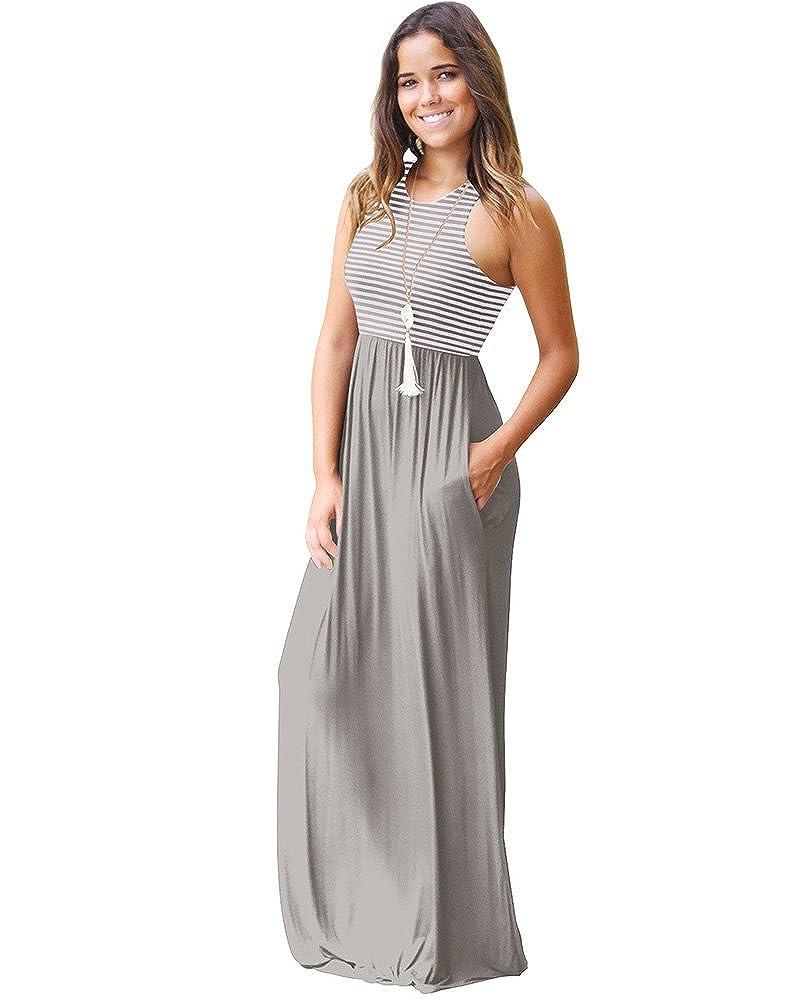 24c008cc0 Tomwell Mujer Elegante Cuello Redondo Sin Mangas Cintura Alta Maxi Vestidos  Largo Moda Rayas de Playa