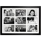 Malden International Designs Matted Linear Classic Wood Picture Frame, Holds 4x6 Photo, 9 Option, Black