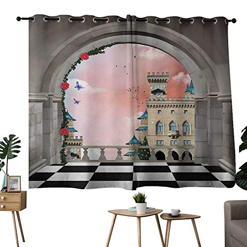NUOMANAN Decorative Curtains for Living Room Fantasy,Castle Balcony Checkered Floor Pattern Medieval Architecture Floral Arrangement,Multicolor,Room Darkening Waterproof Curtains for Bathroom 42