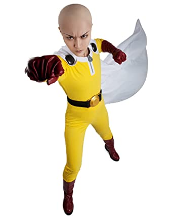 miccostumes mens one punch man saitama cosplay costume including boots cover men - Amazon Halloween Costumes Men