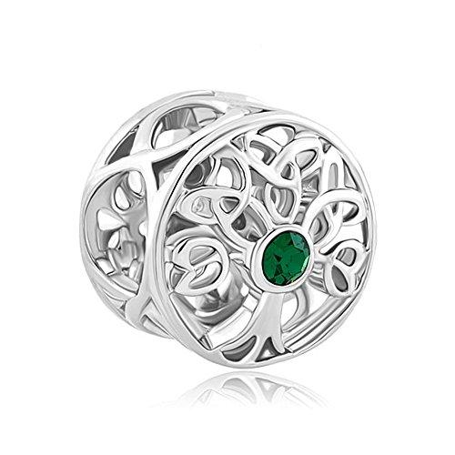 Celtic Womens Charm - ReisJewelry Celtic Knot Charms Filigree Family Tree Of Life Charm Beads For Snake Chain Bracelet (Green)