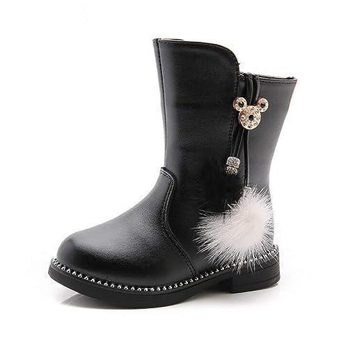 Botas de Invierno para niñas Botines de Cuero con Cordones del Bowknot Zapatos de Invierno para niños Botas de niñas Zapatos Escolares Suaves con Fondo ...