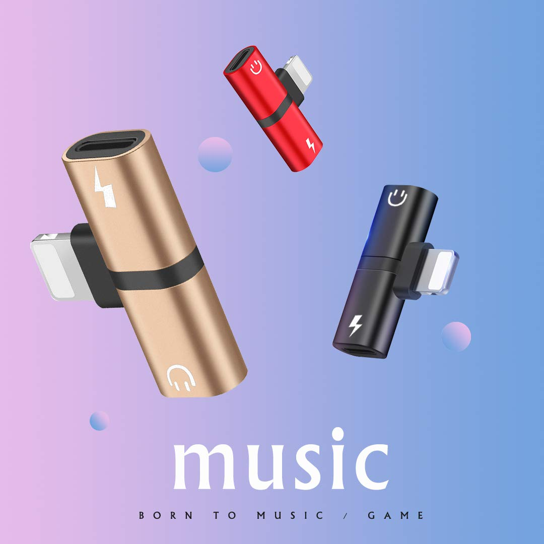 Hamdol Headphone Adapter for iPhone X//XS//XS MAX//XR//8// 8Plus// 7//7 Plus Adapter Splitter Earphone Connector Convertor 2 in 1 Accessories Cables Charge Music Wire Control Cool-Gold Fast Car Adapter