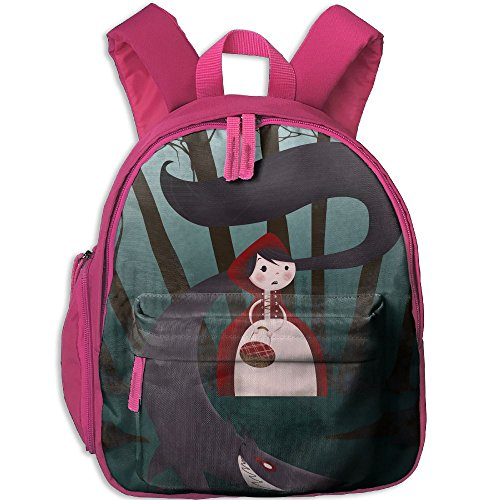 Little Red Riding Hood And Big Wolf Printed Kids School Backpack Cool Children Bookbag Pink (Little Red Riding Hood Cool School)
