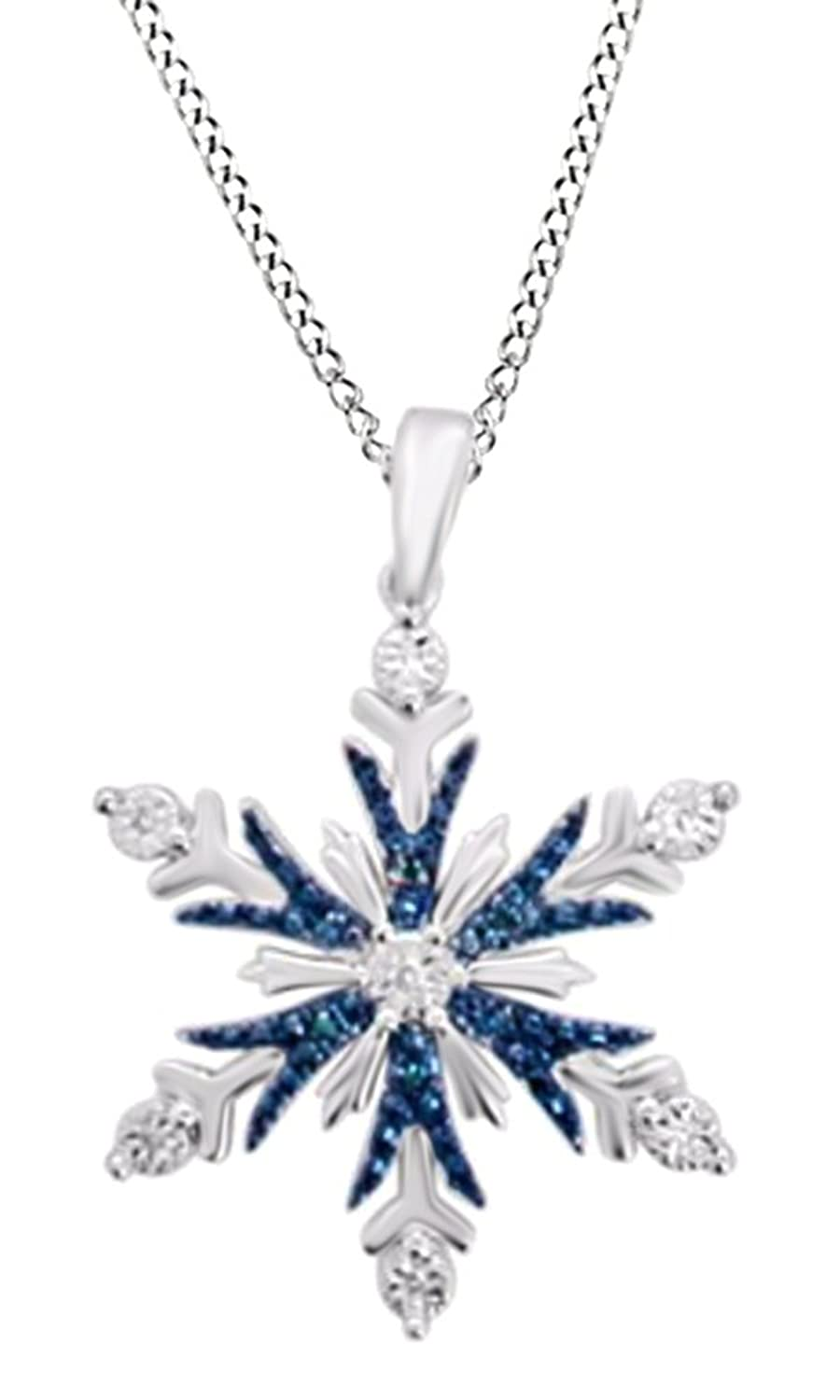 Blue & White Natural Diamond Accent Snowflake Pendant Necklace in 14K Gold Over Sterling Silver