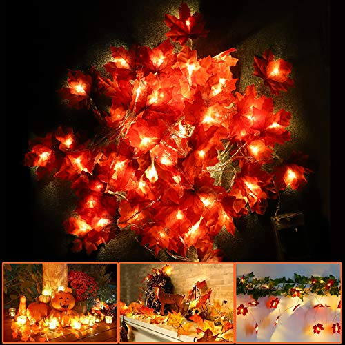 Premer Thanksgiving Decorations Lighted Fall Garland, 2Pcs Maple Leaves Garland String Lights for Fall Decor, Thanksgiving Gifts & Christmas Wedding Party (20 feet with 40 LED & 10 feet with 20 LED)