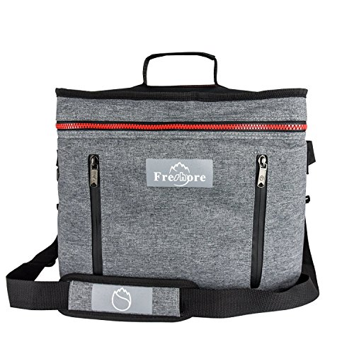 Freshore Collapsible Travel Large Portable Insulated Folding Cooler Compartment Thermal Bag-Meal Prep Big Lunch Box Backpack Picnic Car Tote With Adjustable Strap Hold 9 Bottles Of Red Wine-Dark Grey