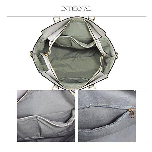 314A Nice LeahWard Great White 314 Shoulder Handbags Bags 502 Grey Tote Women's Zipper Fwwz1xRHq