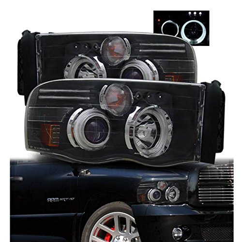 SPPC Black Projector Headlights CCFL Halo For Dodge Ram - (Pair) (02 Dodge Ram Halo Headlights compare prices)