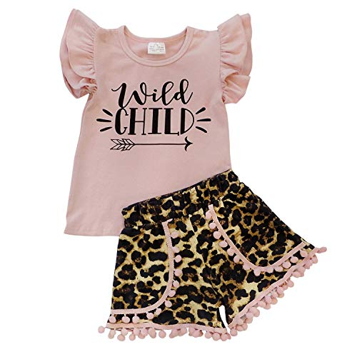 So Sydney Girls Toddler Pom Pom Novelty Summer Pool Beach Vacation Shorts Outfit (7 (XXL), Wild Child Cheetah)