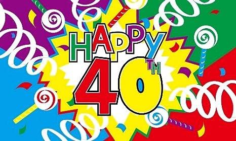 Feliz 40 cumpleaños tela bandera de 5 pies x 3 pies: Amazon ...