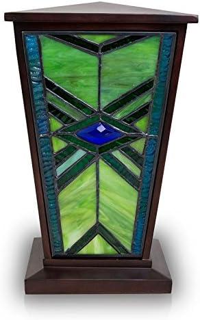 Green Glass Forget Me Not Urn Necklace Cremation Jewelry Cremation Urn Peridot Green Glass Heart Urn Pendant Irish Green Urn Urn
