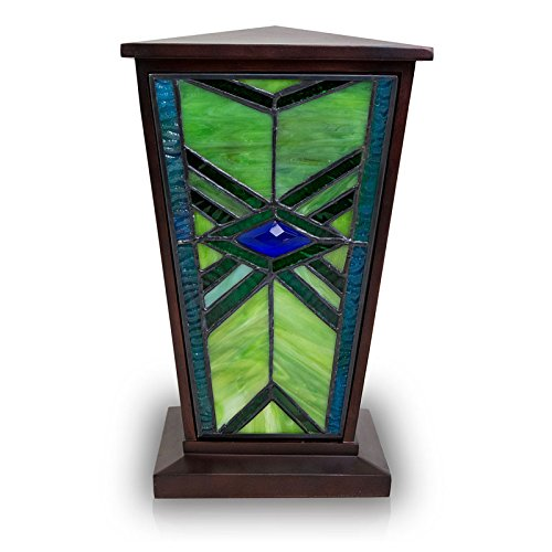 OneWorld Memorials Mission Style Stained Glass Cremation Urn - Large - Holds Up to 200 Cubic Inches of Ashes - Green Urns for Human Ashes - Custom Engraving Included