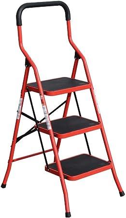 QQXX Escalera Plegable de Hierro ensanchada, Gruesa, Antideslizante, portátil, Chaqueta Plegable, Amarilla roja, Escalera de 2 peldaños, Doble propósito, Hierro: Amazon.es: Hogar