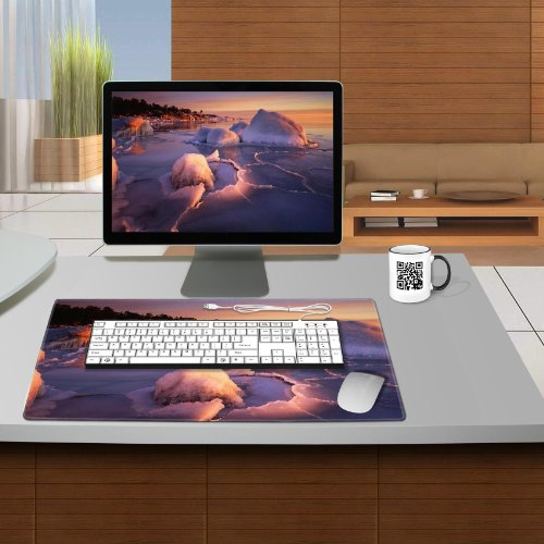 Icing Shores Sunset Landscape Scenery Table Mats Customized Made to Order Support Ready 24 Inch (610mm) X 14 15/16 Inch (380mm) X 1/8 Inch (4mm) High Quality Eco Friendly Cloth with Neoprene Rubber Luxlady Small Deskmat Desktop Mousepad Laptop Mousepads Comfortable Computer Place Play Mat Cute Gaming Mouse pads