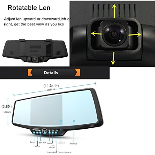 Dash Cam,4.3'' Full HD 1080P Rearview Mirror Dual Lens Video Recorder Car DVR 170 Degree Wide Angle, Loop Recording,G-Sensor,Parking Monitor,Reverse Image by Range Tour (Image #5)