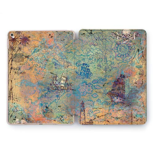 Wonder Wild Treasure Map Apple iPad Pro Case 9.7 11 inch Mini 1 2 3 4 Air 2 10.5 12.9 2018 2017 Design 5th 6th Gen Clear Smart Hard Cover Pirate Island Gold Chest Compass Battle Ships Skull & Bones]()
