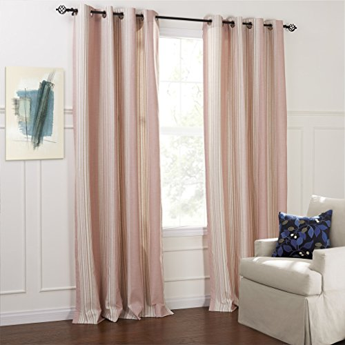 Pink Velvet Drapery Panels (IYUEGO Country Fresh Style Pink Stripe Eco-friendly Grommet Top Curtains Draperies With Multi Size Custom 100