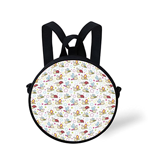 Price comparison product image iPrint Toddler Preschool Backpack, Nursery, Adorable Bugs with Colorful Flowers Ladybugs Dragonflies Bees Animal Fun, Pale Blue Pink Red, for Little Boys Girls