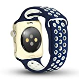 Apple Watch Band - Ostart Soft Silicone Nike+ Sport Style Replacement iWatch Strap band for Apple Wrist Watch (42mm Blue+White)