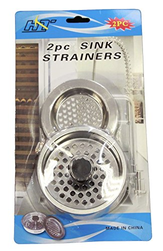 2 PCS STAINLESS STEEL KITCHEN SINK Strainer and Stopper Set
