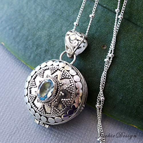 Blue Topaz Container Round Locket Sterling Silver Pendant 20