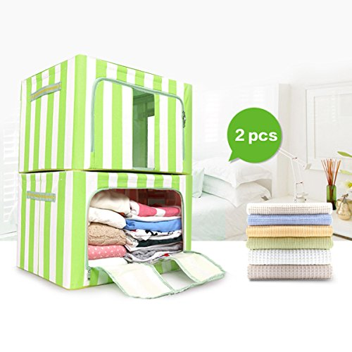 VBTidy 66L Foldable Storage Box, Oxford Fabric Double Zipper Organizer with Clear Window for Under Bed Storage, Closet,Linens, Bedding Blanket, Sheets Pillows, Quilt (2 Pack,Green) by VBTidy (Image #1)