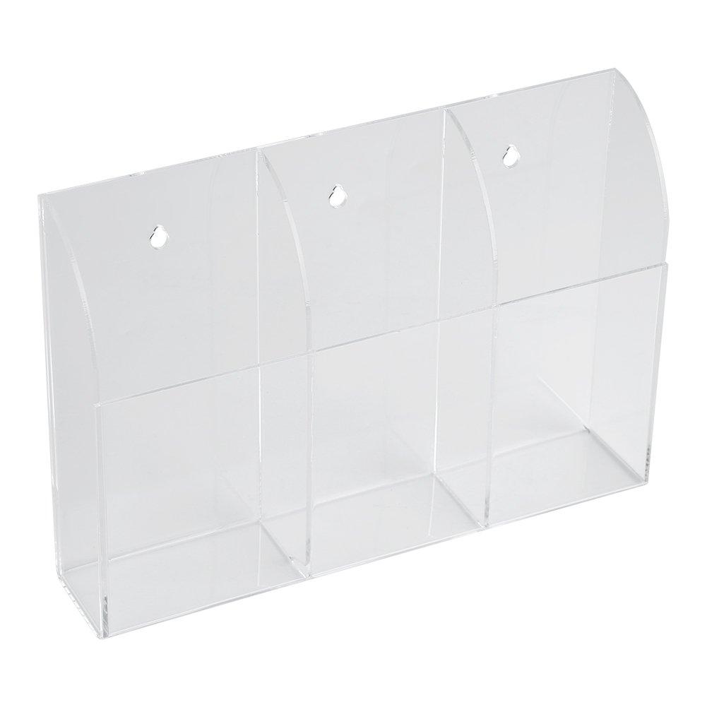 Remote Control Holder Organizer Case Wall Mount Acrylic Media Storage Box for Desktop Clear TV Air Conditioner Storage(3 Grid)