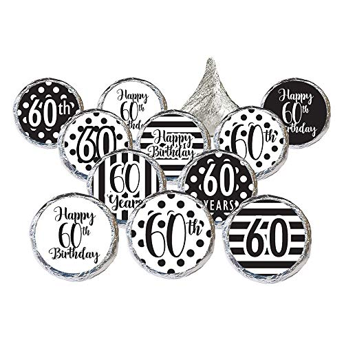Black and White 60th Birthday Party Favor Stickers, 324 Count