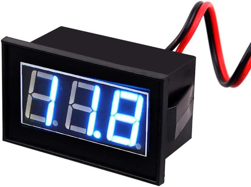 0.56LED Digital Voltmeter,DC 4.5-150V Digital Voltmeter LED Display Volt Blue Backlight Waterproof Panel Voltage for Balance Car Blue Words