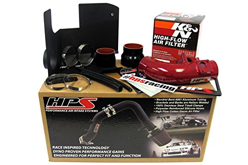 HPS 27-111R-2 Red Short Ram Air Intake Kit with Heat Shield Non-CARB Compliant
