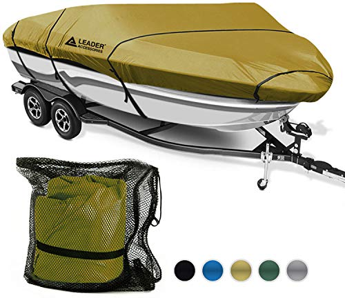 "Leader Accessories 600D Polyester 5 Colors Waterproof Trailerable Runabout Boat Cover Fit V-Hull Tri-Hull Fishing Ski Pro-Style Bass Boats, Full Size (Tan, Model F: 22′-24'L Beam Width up to 116"")"
