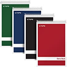 "TOPS Steno Books, 6"" x 9"", Gregg Rule, White Paper, Assorted Color Covers, 80 Sheets, 4 Pack (80220)"