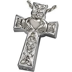 Memorial Gallery MG-3118s Claddagh Celtic Cross Sterling Silver Cremation Pet Jewelry