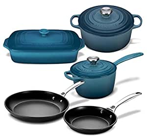 Le Creuset 8 Piece Multi-Purpose Enameled Cast Iron, Stoneware, and Toughened Non Stick Complete Cookware Set (Marine)