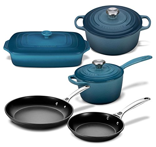 Le Creuset 8 Piece Multi-Purpose Enameled Cast Iron, Stoneware, and Toughened Non Stick Complete Cookware Set (Marine)