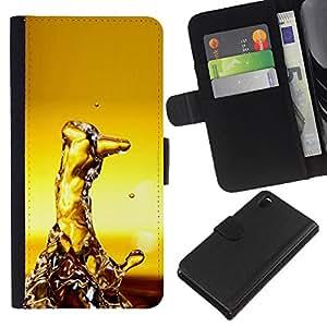 All Phone Most Case / Oferta Especial Cáscara Funda de cuero Monedero Cubierta de proteccion Caso / Wallet Case for Sony Xperia Z3 D6603 // Water Random Art Modern Structure Yellow
