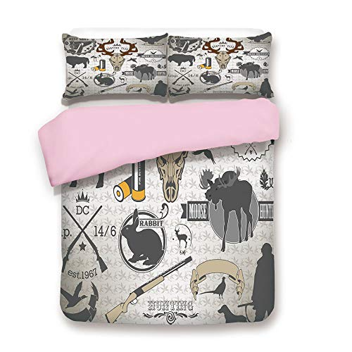 Pink Duvet Cover Set,Twin Size,Wildlife Theme Vintage Graphic Labels Weapons Ammunition Moose Elk Rabbit Decorative,Decorative 3 Piece Bedding Set with 2 Pillow Sham,Best Gift For Girls Women,Multicol ()