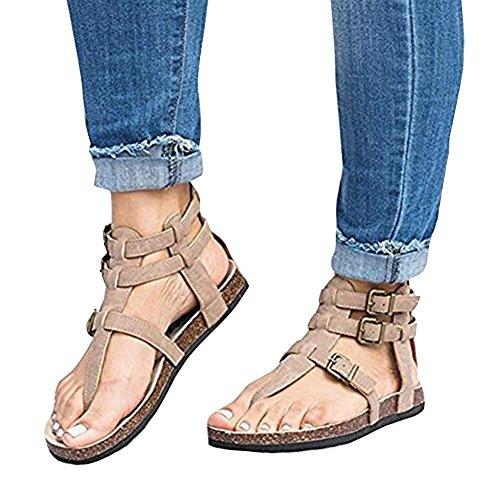 Sandales Ankle Été Plat Plage Hibote T Toe Peep Talon Femmes Évider Dames Beige Casual Bar Sandales Boucle 5qqTvOfw