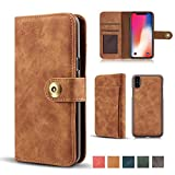 "iPhone X Case, Vintage 2 in 1 [Magnetic Detachable] Flip Wallet PU Leather Slim Case Retro [4 Card Holder] Slot Wallet Removable Protective Folio Book Cover for iPhone X/iPhone 10 5.8"" 2017 - Brown"