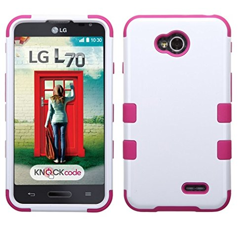 Asmyna TUFF Hybrid Phone Protector Cover for LG VS450PP Optimus Exceed 2 - Retail Packaging , White/Hot Pink