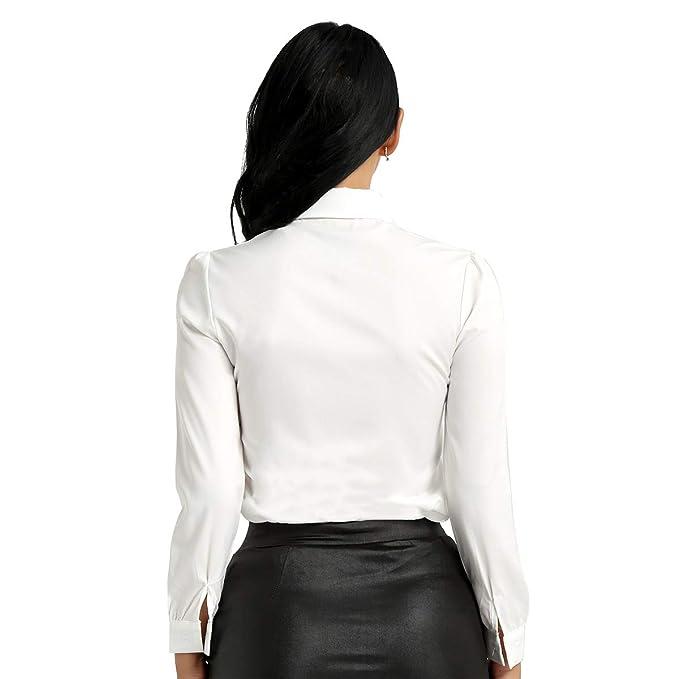 15cb372169 Alvivi Femme Chemise Top Col avec Cravate Blouse Manches Longues Chemisier  Blanc Automne Casual Élégant S-XL: Amazon.fr: Vêtements et accessoires