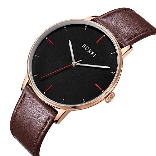 - BUREI Men Women Ultra Slim Minimalist Quartz Watches with Big Dial Date Stainless Steel/Leather Band (Brown-Leather Band)
