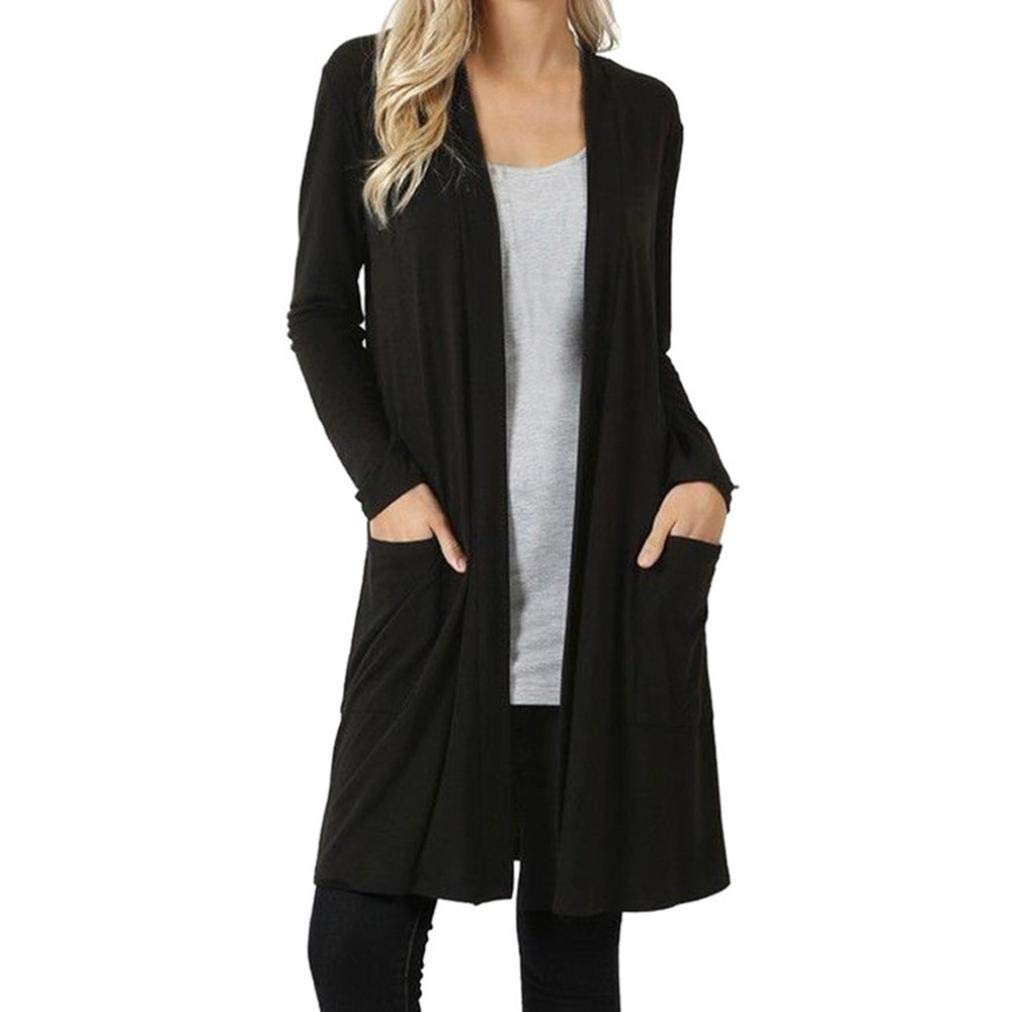 FANOUD Autumn Long Sleeve Plus Pockets Loose Drape Open Front Fly Away Cardigan Sweater