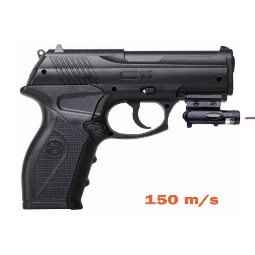 Crosman C11 + láser | Pistola de Aire comprimido (co2) y balines-perdigones de Acero BB's Cal 4.5mm 5J