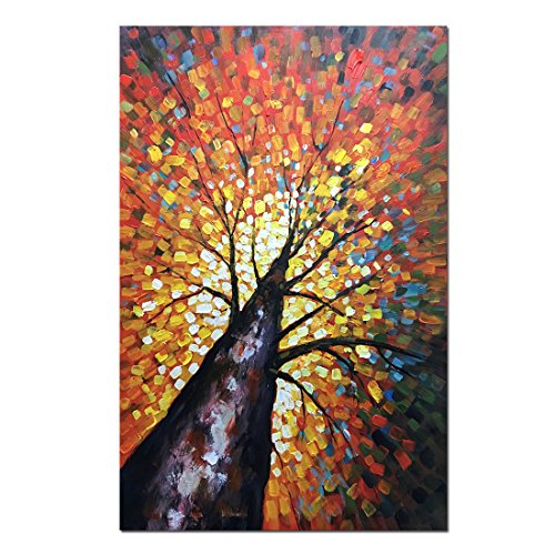 Fasdi-ART Paintings, 24x36Inch Paintings,Oil Painting 3D Hand-Painted On Canvas Abstract Artwork Art Wood Inside Framed Hanging Wall Decoration Abstract Flower Tree Painting (DF009)