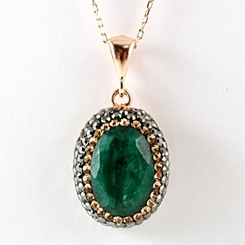 Emerald Circle Pendant - Rose Gold Plated Sterling Silver Natural Oval Green Emerald with Crystals Handmade Pendant 18'' Chain