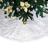 "Powereva 60""Christmas Tree Skirt–Snow White Soft Plush Faux Fur Decorative - Christmas & Holiday (Extra Large) NO:014a"